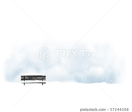 Winter landscape with old black bench and snowfall. Vector illustration in minimalist style 57244108