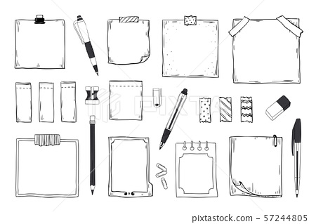 Doodle notes. Diary notebook and paper sheets with pin pen pencil and stationery, hand drawn sticky 57244805