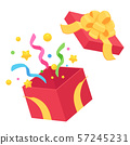 Opened gift box_Red_Yellow_Flower ribbon 57245231