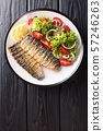 Spicy grilled mackerel fillet with lemon and fresh 57246263