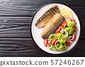 Healthy food grilled mackerel fillet with lemon 57246267