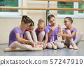 Young ballerinas on floor with new slippers. 57247919