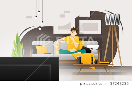 Happy young man sitting on sofa and watching television in living room, relaxing weekend at home 57248256