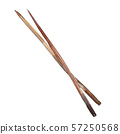 Wooden chopsticks for asian food. Watercolor background set. Isolated eating utensils illustration 57250568