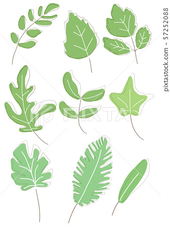 set of different doodle green leaves 57252088