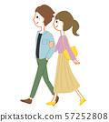 走與他們的胳膊的年輕夫婦橫渡 57252808