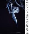 White smoke isolated on black background, close up 57254943
