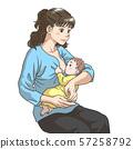 母乳喂养的年轻母亲 57258792