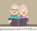 grandfather with grandmother reading bigbook 57259515