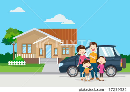 Happy family in the background of his home and car 57259522