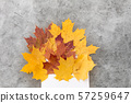 autumn maple leaves with envelope on grey stone 57259647