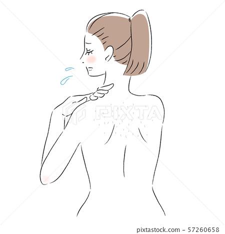 背部皮膚擔心浪費頭髮,女性 57260658