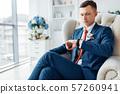 wedding portrait of a man, a man in an elegant 57260941