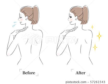 背部皮膚擔心浪費頭髮,絨毛,女性前後 57261543