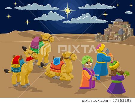 Nativity Scene Wise Men Christmas Cartoon 57263198