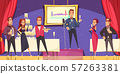 Opening Exhibition Banquet Cartoon Illustration 57263381