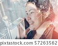 Telecommunication and Communication 5G Network Concept, Double Exposure of Business Woman is Using Smart Phone for Calling Communicated and City Urban Background. Innovative 5G Networking Mobile Phone 57263562