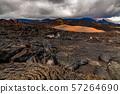Rough surface of frozen lava after Mauna Loa volcano eruption, Hawaii, USA 57264690
