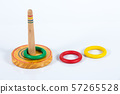 Quoits, Wooden toy on white background, Close up shot 57265528