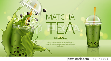 Matcha green tea with bubbles and ice cubes mockup 57265594