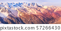 Chamonix town aerial sunset view, France 57266430