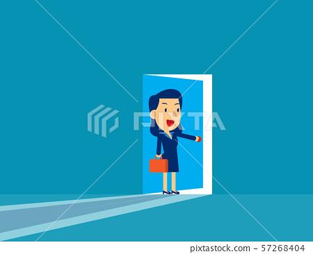 Businesswoman opening door. Concept cute business 57268404