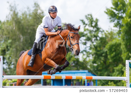 Young male horse rider on show jumping competition 57269403