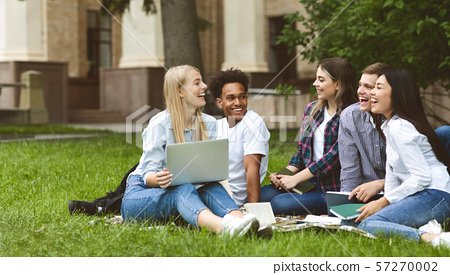 College students having discussion in campus on grass 57270002