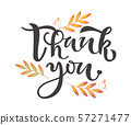 Thank You hand drawn text with leaves on background. Thank-you quote, lettering 57271477