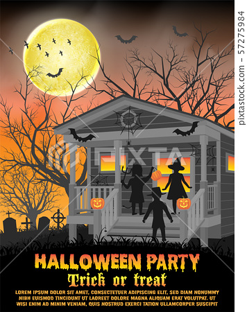 halloween kids costume party in front of house for trick or treat poster 57275984