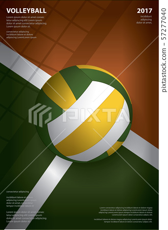 Volleyball Tournament Poster  Template Design Vector Illustration 57277040