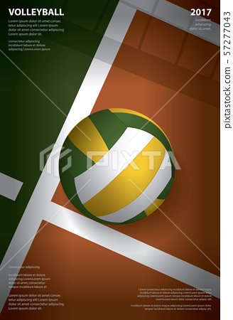 Volleyball Tournament Poster  Template Design Vector Illustration 57277043