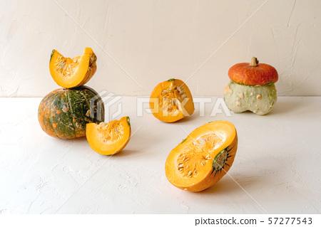Still life of various pumpkins and pieces 57277543