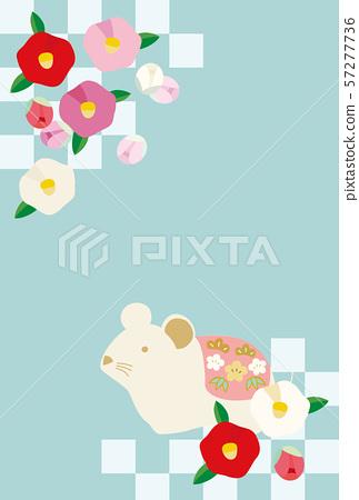 新年度老鼠和山茶花花的卡片例證 57277736