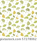 Ginkgo biloba leaf tablecloth seamless pattern. Silhouette of leaves with white veinlets. Isolated 57278062