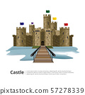 Medieval castle with Hight tower and Wall vector illustration 57278339
