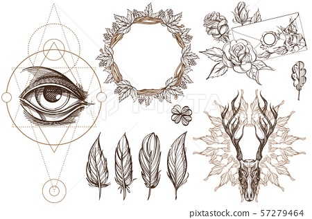 Arrows and flowers. A set of elements in the style of Boho. Contour illustrations for the creation 57279464