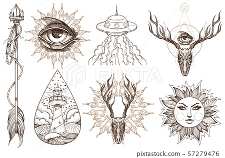 Arrows, magic eye, horns, UFO. A set of elements in the style of Boho. Contour illustrations for the 57279476