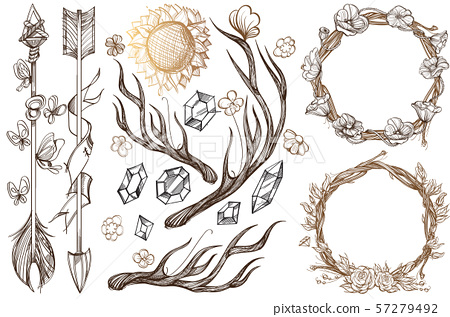 Arrows and flowers. A set of elements in the style of Boho. Contour illustrations for the creation 57279492