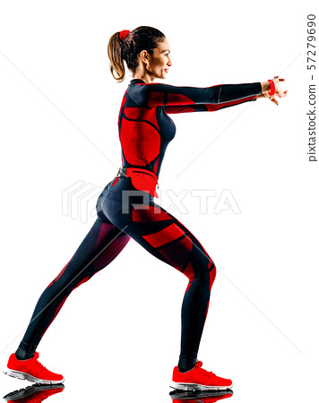 woman runner running jogger jogging jumpsuit isolated white background 57279690
