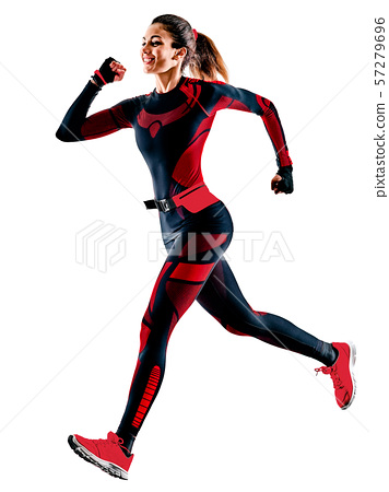 woman runner running jogger jogging jumpsuit isolated white background 57279696