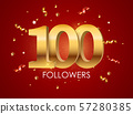 100 Followers Background Template Vector 57280385