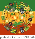 Jamaica rastafarian icons in round frame composition, vector illustration. Flat style symbols of 57281746