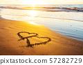 Love, heart on sea beach 57282729