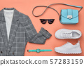 Autumn Fashion Clothes Flat lay, Leaf. Fall Outfit 57283159
