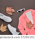 Autumn Fashion Clothes Flat lay, Leaf. Fall Outfit 57283161