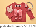 Autumn Fashion Hipster DJ Clothes Outfit Flat lay. 57283170