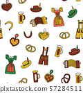 Oktoberfest seamless vector background. Oktoberfest repeating pattern. Traditional German icons 57284511