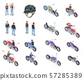Bikers Isometric Icons Set 57285389