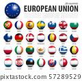 European union EU 3D circle balls line up and 57289529